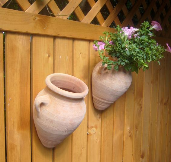 wandamphore wandblumentopf terracotta terrakotta blumentopf garten deko landhaus ebay. Black Bedroom Furniture Sets. Home Design Ideas