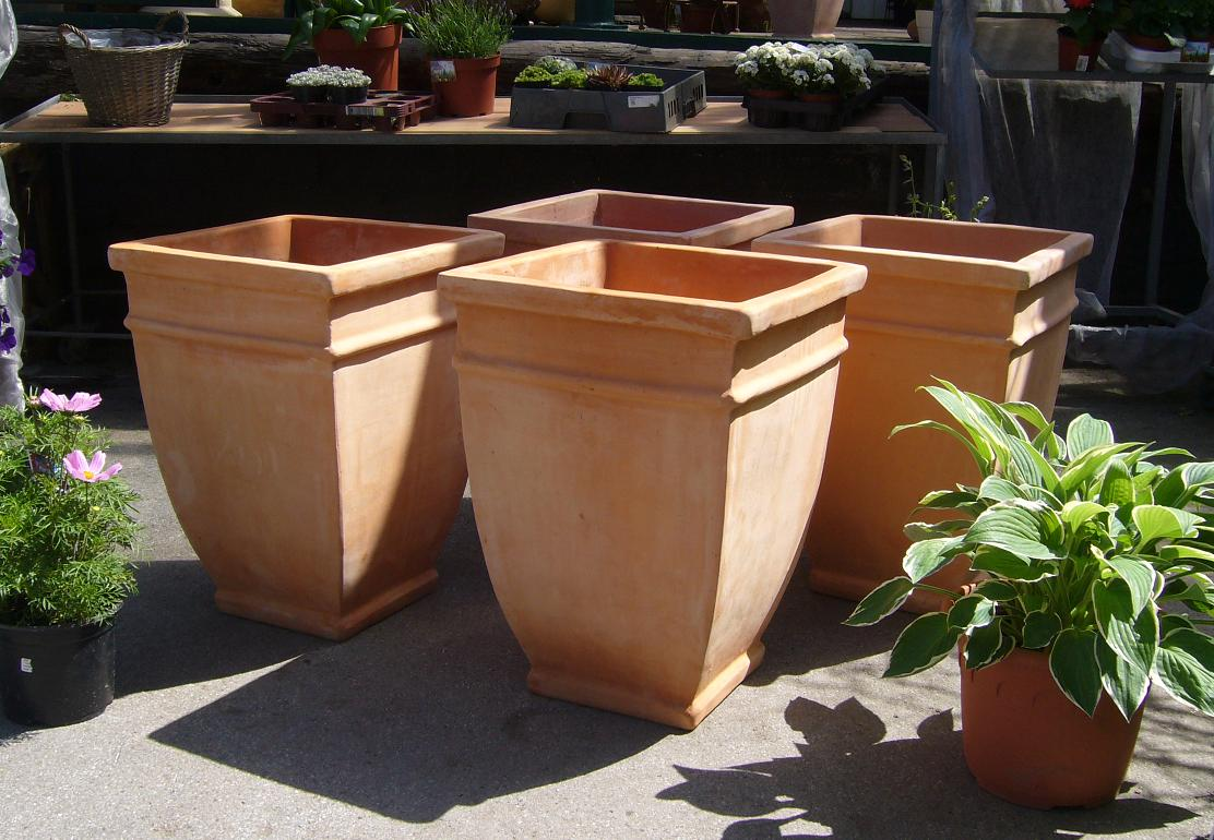 4 st blumentopf terracotta terrakotta blumenk bel bertopf garten deko blumen ebay. Black Bedroom Furniture Sets. Home Design Ideas